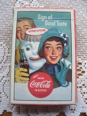 (1) Vintage 1959 COCA-COLA Playing Cards Deck COKE Couple & Snowman