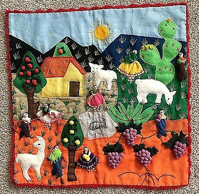 """Vintage Made in Peru 3D Fabric Wall Hanging Colorful Village Scene 17"""" square"""