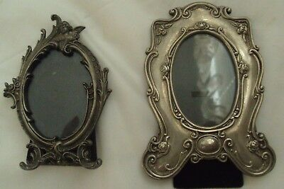 Lot of 2 Small Vintage Ornate Metal Oval Floral Picture Frames