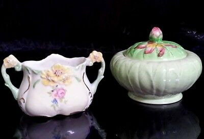 Vintage Carlton Ware Covered Sugar Bowl Australian Design,Made in England Green