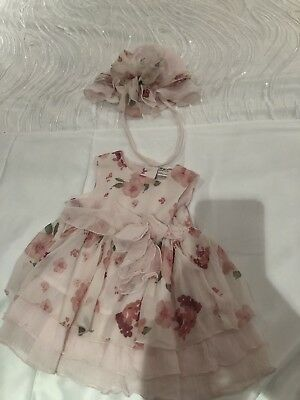 Pre Natal Baby Girls Dress And Matching Bonnet Floral Size 3-6 Months