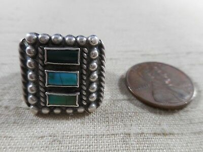 FRED HARVEY era silver Navajo ring with 3 elongated rectangular turquoise stones