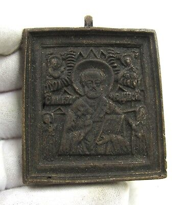 Authentic Late Medieval Era Bronze Icon W/ Saints - H304