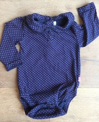 186333b27 JoJo Maman Bebe 3-6 months Baby Girl Bodysuit Navy Pink Peter Pan Collar  long