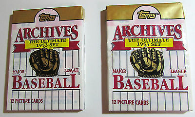2 packs 1991 Topps 1953 Archives Ultimate Baseball factory sealed unopen package