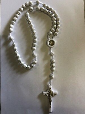 *NEW* White PLASTIC with Cross Religious ROSARY Beads Necklace With Crucifix
