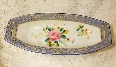 1920s Nippon Hand Painted Moriage Baby Blue & Rose Pattern Celery Serving Dish
