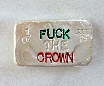1oz hand poured silver bar 999 Army Irish Republican IRA. F the Crown 26 + 6 = 1