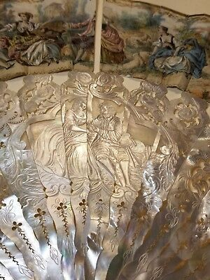 Antique Victorian French Hand Carved Mother Of Pearl Painted Fan