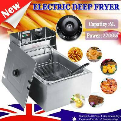 6L Electric Commercial Home Deep Fryer Single Frying Basket Chip Cooker 2500W AU