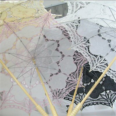 vory/White/Pink/Black Handmade Cotton Lace Parasol Umbrella Bride Wedding DB