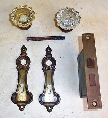 Antique Vintage Hardware Set Back Plates Glass Door Knobs Mortise Lock Steampunk