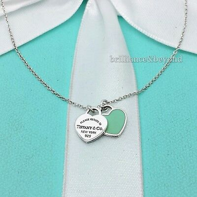 36dc420c9 Return to Tiffany & Co Mini Double Heart Tag Pendant Necklace Enamel Silver  Blue