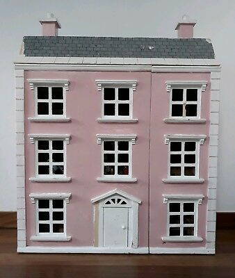 Pink/White Wooden Georgian 4 storey, dolls house-fully furnished inc 5 figurines