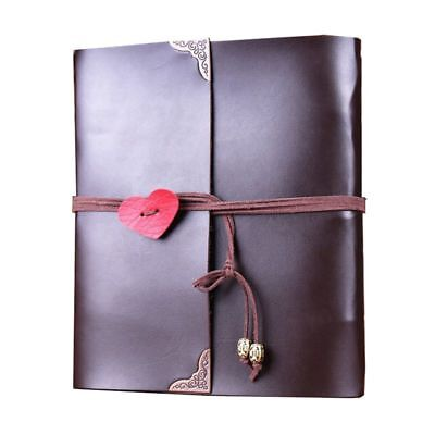 Scrapbook, Leather Photo Album Retro Album Wedding DIY Vintage Scrapbook Bl F6C0