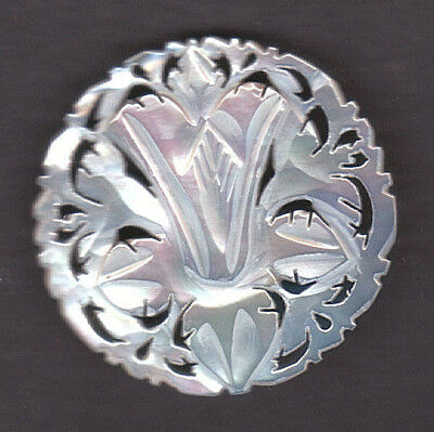 """BETHLEHEM FLOWER MOTHER OF PEARL BUTTON  rose flower sign of purity 1 3/4"""""""