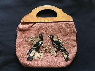 Antique Australiana  Hand Embriodered Bag With Magpies And Gumleaves