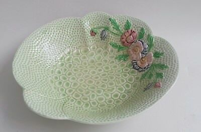 Pretty Vintage 1940's MELBA WARE Green and Embossed, Floral Dish