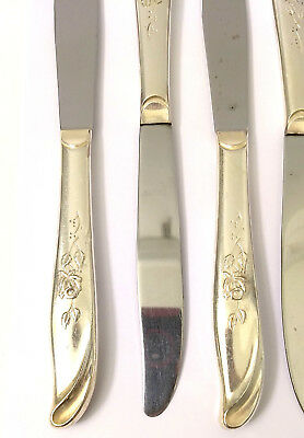 Set of 8 Supreme Silverplate Random Rose Knives Flowers Leaves Crafting USA