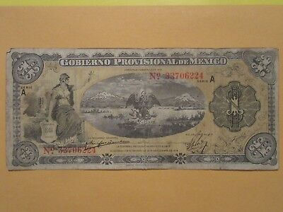 1914 mexico 1 peso note  paper money  Eagle and Snake lot 224