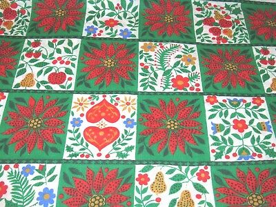 Vintage RED GREEN Christmas Pennsylvania Dutch? Cotton/Polyester Fabric 1 3/8 yd