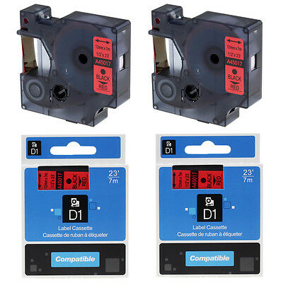 """2PK Compatible DYMO 45017 D1 12mm 1/2"""" Black on Red  Label Tape Office Labeling"""