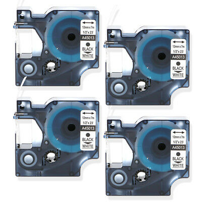 4PK Black on White Label Tape Compatible for DYMO 45013 D1 12mm x 7m