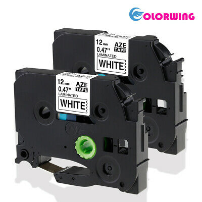 2PK Compatible for Brother P-Touch Black on White Label Tape TZe-231 TZ231 12mm