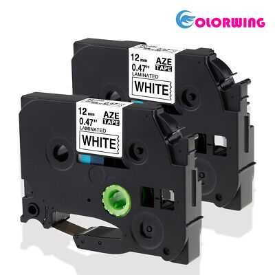 2PK TZe-231 Compatible for Brother P-Touch TZ Label Tape 12mm Black on White