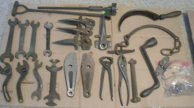 Lot Of 26 Vintage Old Farm Tools Hand Forged Wrenches Sickel Heller Westcott