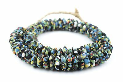 Jumbo Fused Rondelle Recycled Glass Beads 20mm Ghana African Multicolor Disk