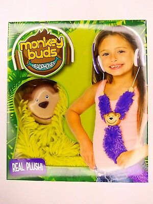 Monkey Buds Headphones Kids Childs Soft Plush 3.5mm Cushion Adjustable Green