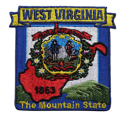 State Of West Virginia Embroidered Iron On Patch - WV Travel Souvenir 216-R