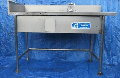 stainless catering sink 1 x bowl + well and splash back 163W x 99H x 68D cm