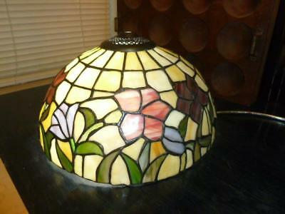 """Vintage Dale Tiffany Stained Glass 12"""" Lamp Shade Floral Shades of Purple"""