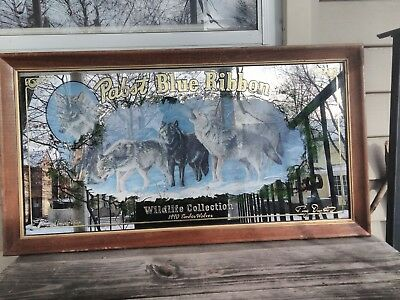 Pabst blue ribbon beer sign mirror Wildlife collection series WOLVES 2ND 1990