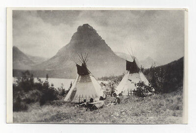 Early RPPC Postcard Native American Indian Teepee Tent Dwellings Mountains  B1T