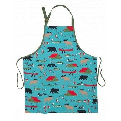 Hatley Fun Cotton Bib Apron GONE CAMPING Tent Bear Moose Duck Fish Barbecue Chef
