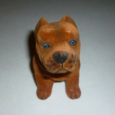PIT BULL Nodding Moving BOBBLE HEAD DOG GOLD BROWN GOLDEN TOY