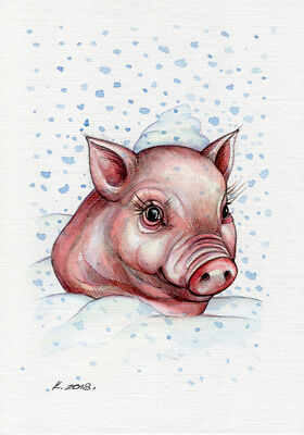 Pig, Red, new year, Illustration, Watercolor Original Painting Art, Quick sketch