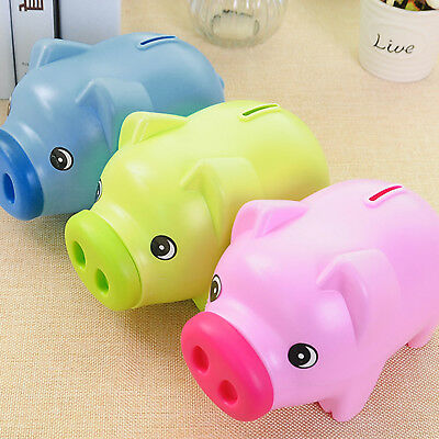 Piggy Bank Money Box For Saving Coins & Cash Fun Plastic Pig Safe Kids Gift