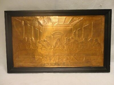 Vintage Religious Relief Hammered Copper The Lords Last Supper Framed Picture