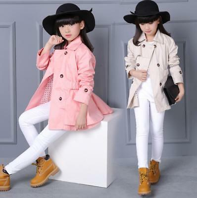 Kids Girls Belted Plain Button Jacket Trench Coat Windbreaker Outwear 4-12Years