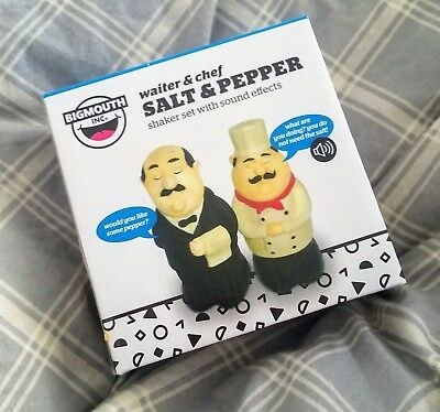 Funny Talking Chef & Waiter Salt-And-Pepper Shakers Set Novelty Battery Operated