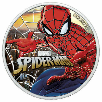 SUNSET CITY 1 oz Silver SPIDERMAN Colorized Coin with Box and CoA