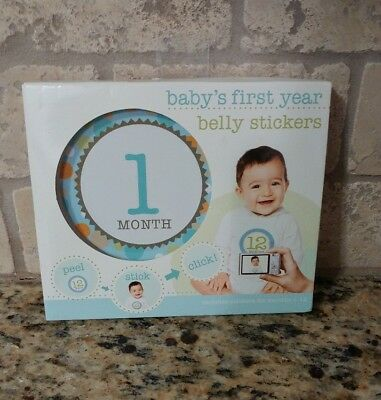 Baby's First Year Blue Boy Unisex Peel-and-Stick Belly Stickers Months 1-12 Cute