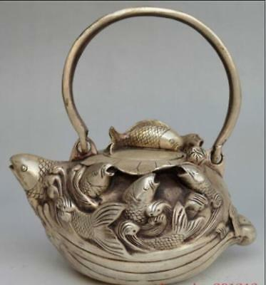 Collectible Decorated Chinese Miao Silver Carved Fish Wave Teapot