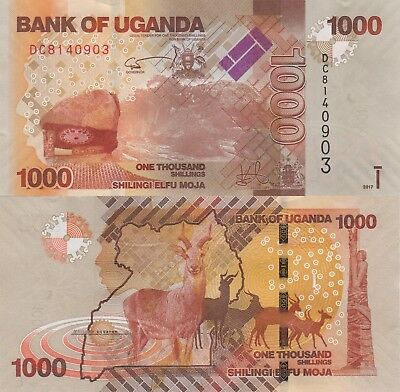 Uganda 1000 Shillings (2017) - Antelope/Coat of Arms/p49new UNC
