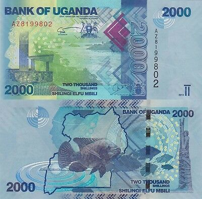 Uganda 2000 Shillings (2013) - River Valley/Fish/p50b UNC