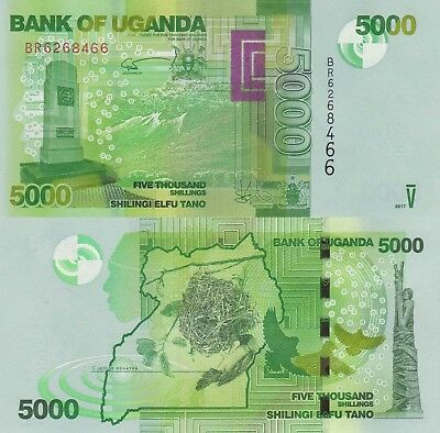 Uganda 5000 Shillings (2017) - Monument/Birds/p51-New UNC